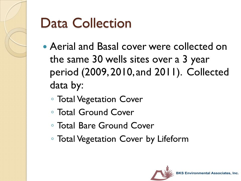 Data Collection Aerial and Basal cover were collected on the same 30 wells sites over a 3 year period (2009, 2010, and 2011). Collected data by: