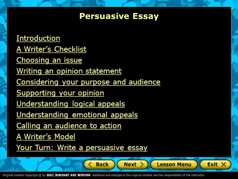 How To Stay Healthy Essay Persuasive Essay Introduction A Writers Checklist Choosing An Issue Examples Of Thesis Essays also From Thesis To Essay Writing Persuasive Essay Introduction A Writers Checklist Choosing An Issue  Argumentative Essay Sample High School