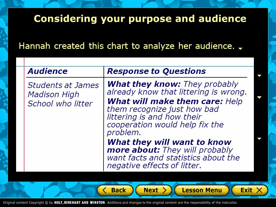 Considering your purpose and audience