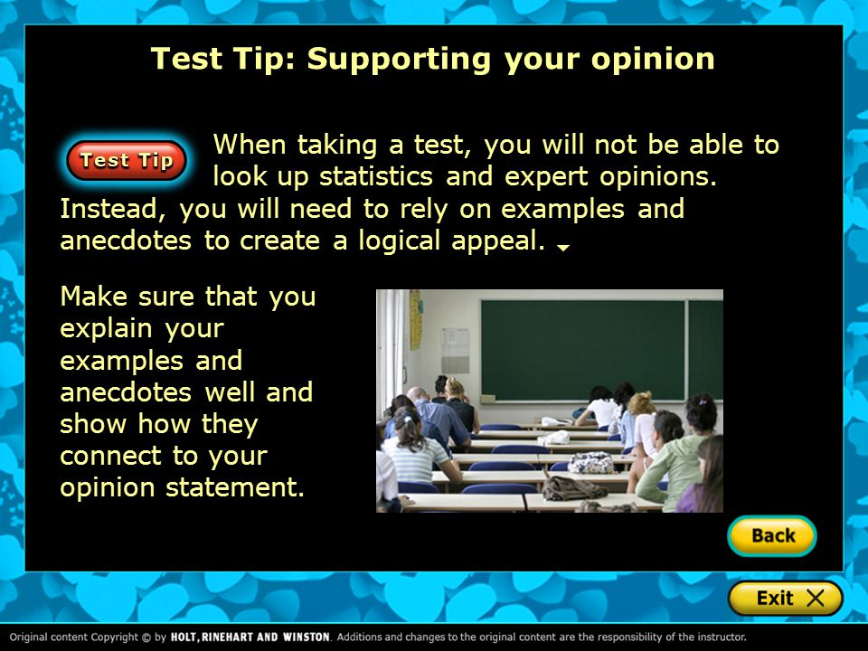 Test Tip: Supporting your opinion