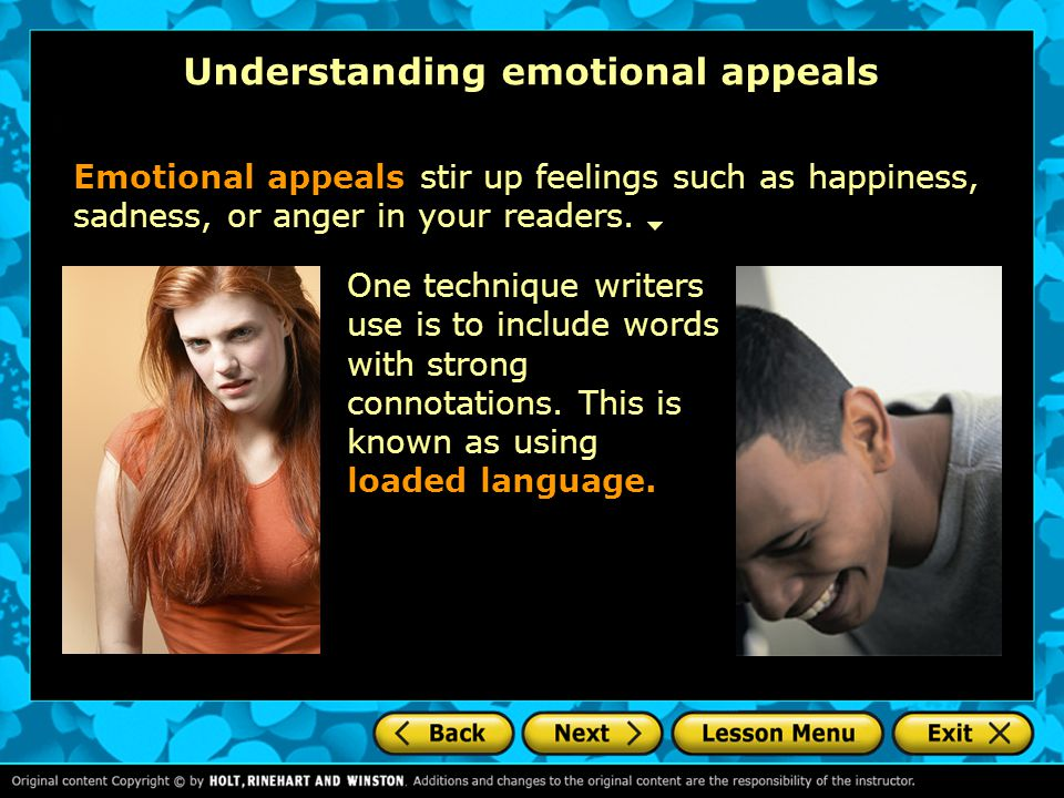 Understanding emotional appeals
