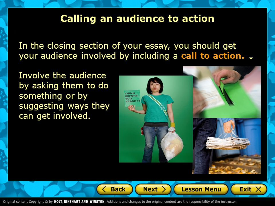 Calling an audience to action