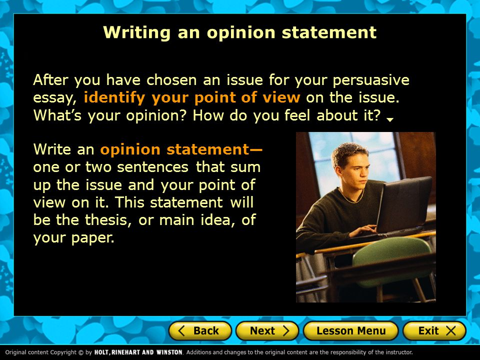 Writing an opinion statement
