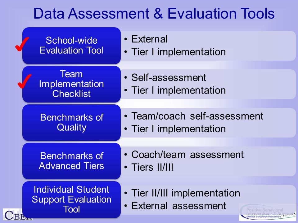 ✔ ✔ Data Assessment & Evaluation Tools External Tier I implementation