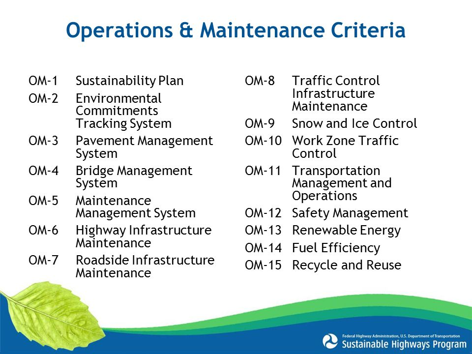 Operations & Maintenance Criteria