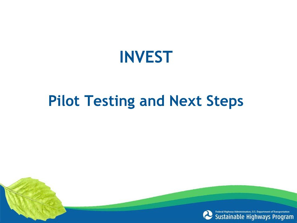 Pilot Testing and Next Steps