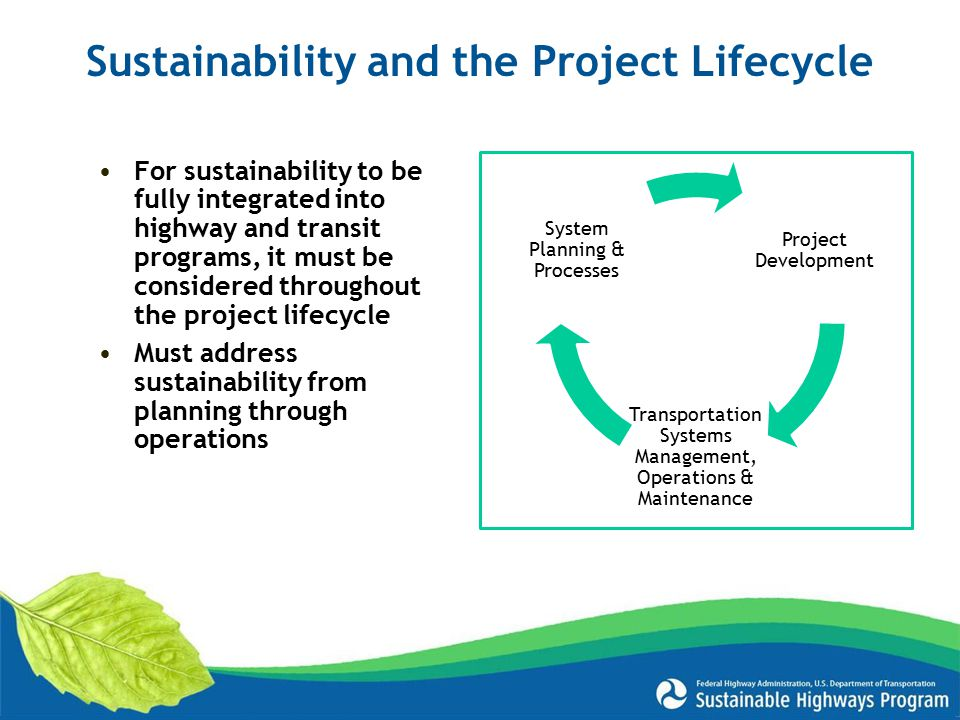 Sustainability and the Project Lifecycle