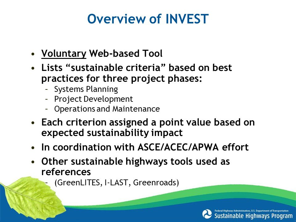 Overview of INVEST Voluntary Web-based Tool
