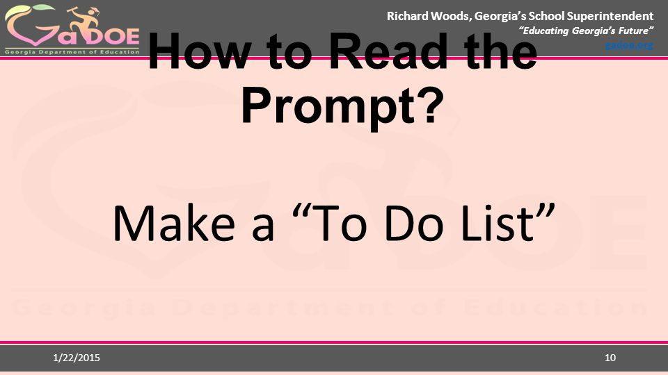 How to Read the Prompt Make a To Do List 1/22/2015