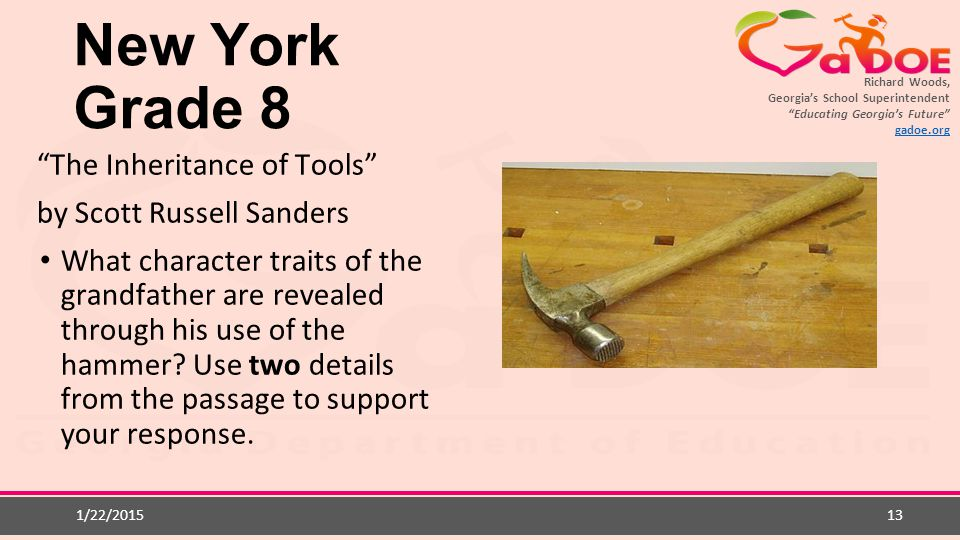 New York Grade 8 The Inheritance of Tools by Scott Russell Sanders