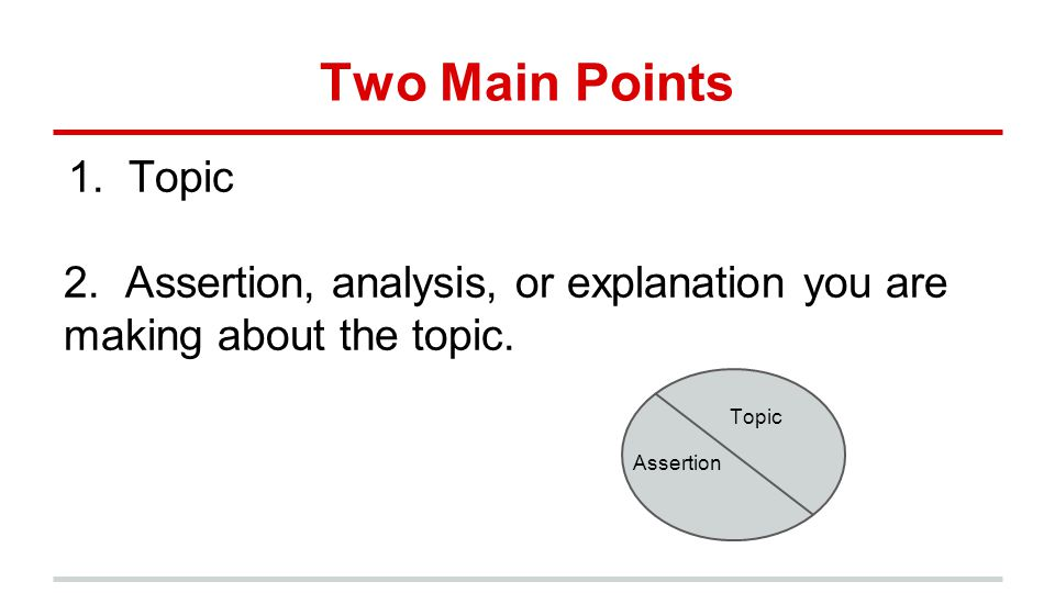 Two Main Points Topic. 2. Assertion, analysis, or explanation you are making about the topic. Topic.