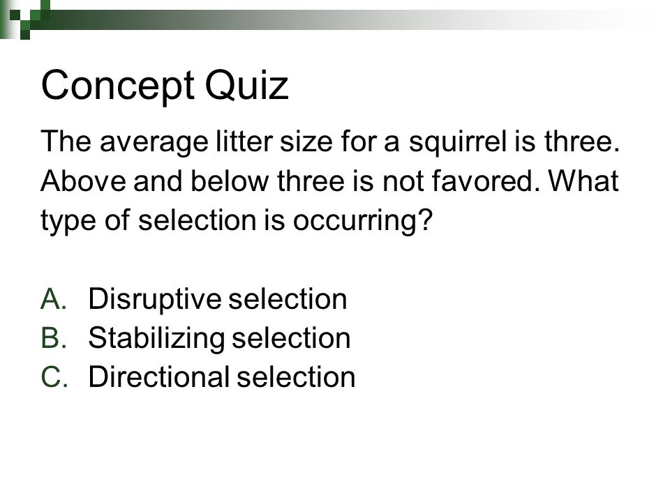 Concept Quiz The average litter size for a squirrel is three.