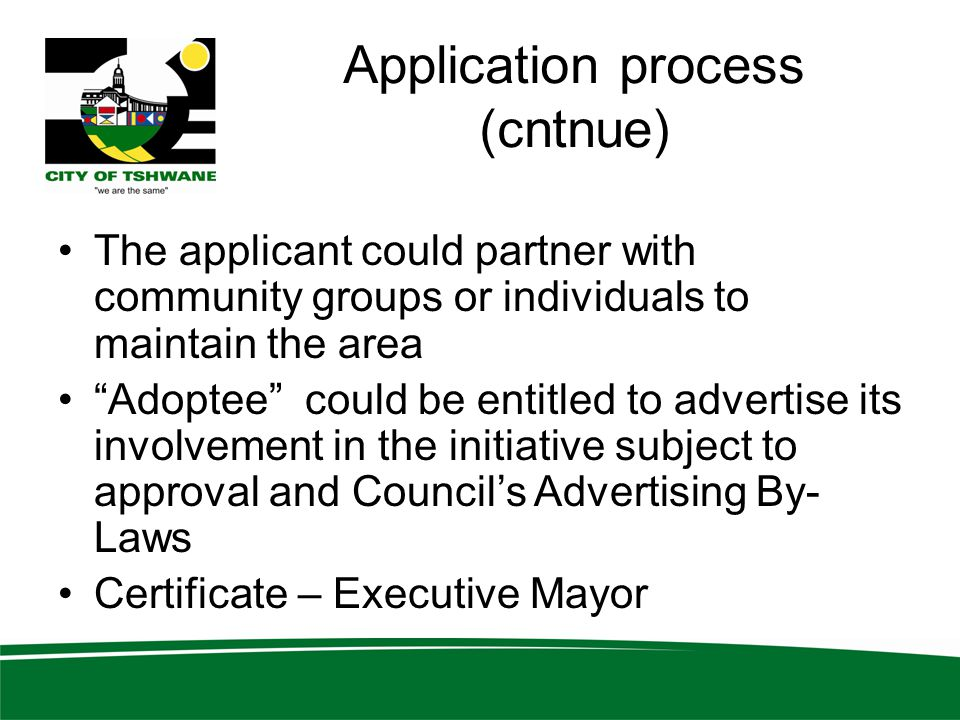 Application process (cntnue)