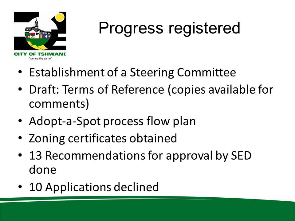 Progress registered Establishment of a Steering Committee