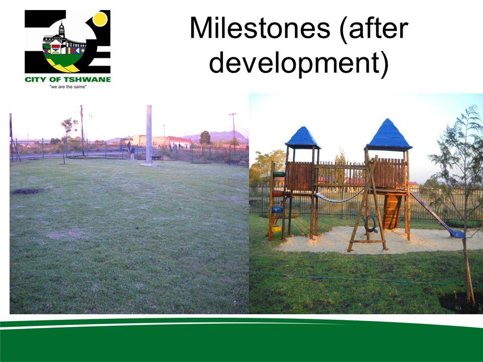 Milestones (after development)