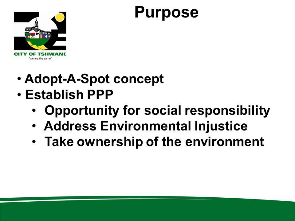 Purpose Adopt-A-Spot concept Establish PPP