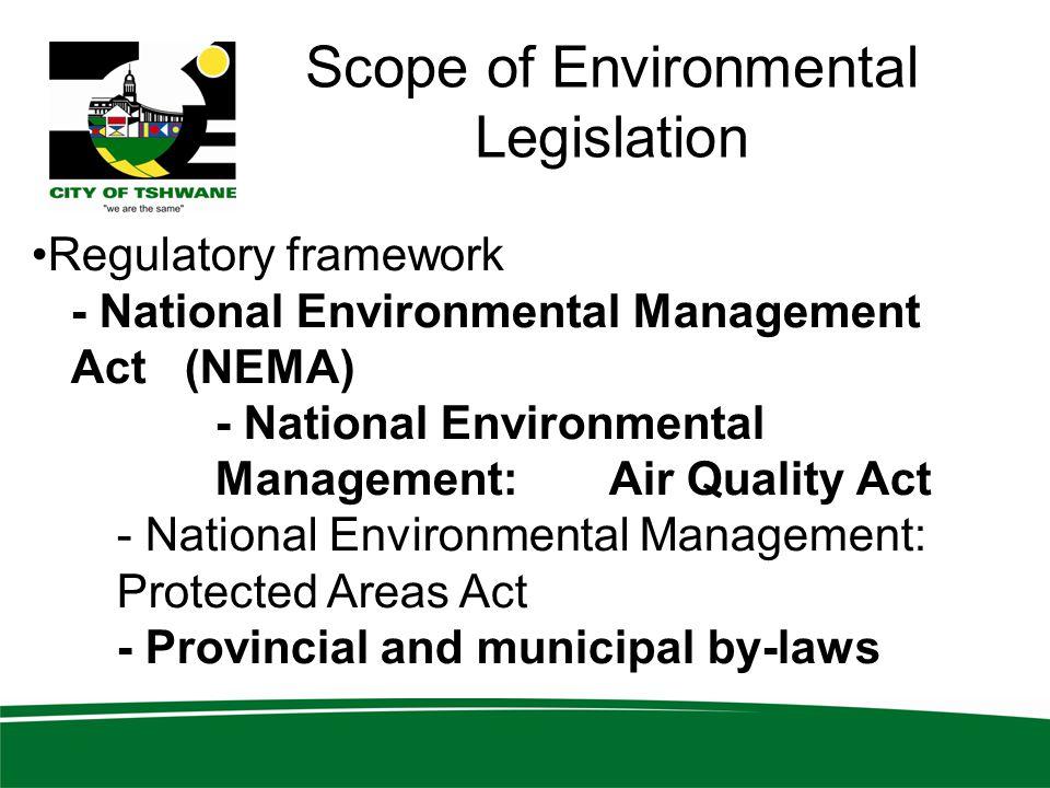 Scope of Environmental Legislation
