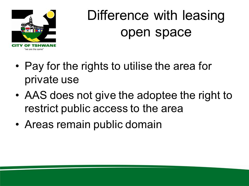 Difference with leasing open space