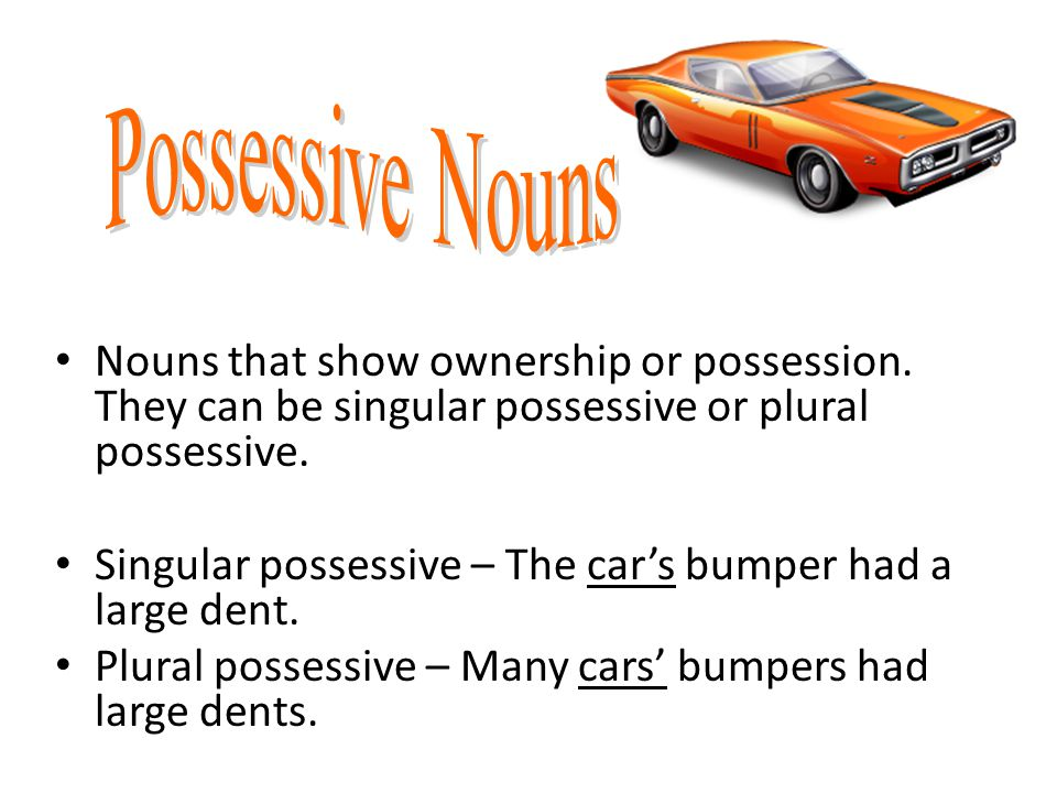 Possessive Nouns Nouns that show ownership or possession. They can be singular possessive or plural possessive.