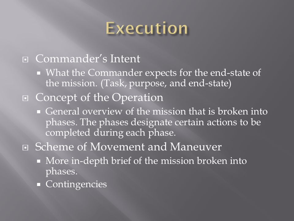 Execution Commander's Intent Concept of the Operation