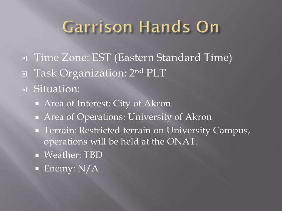 Garrison Hands On Time Zone: EST (Eastern Standard Time)