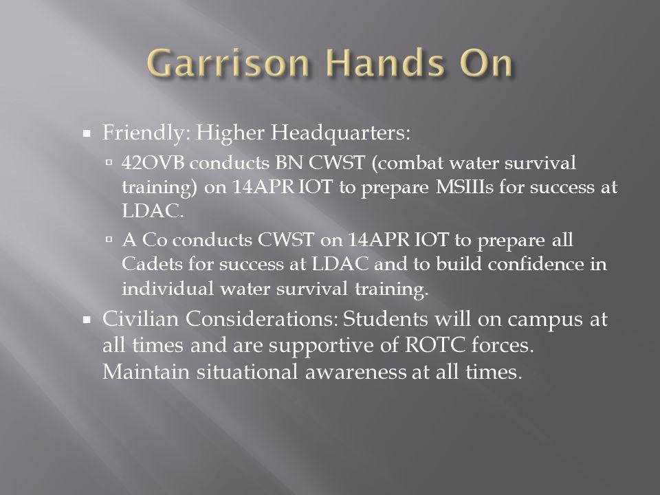 Garrison Hands On Friendly: Higher Headquarters: