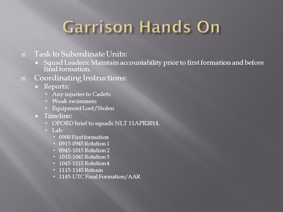 Garrison Hands On Task to Subordinate Units: