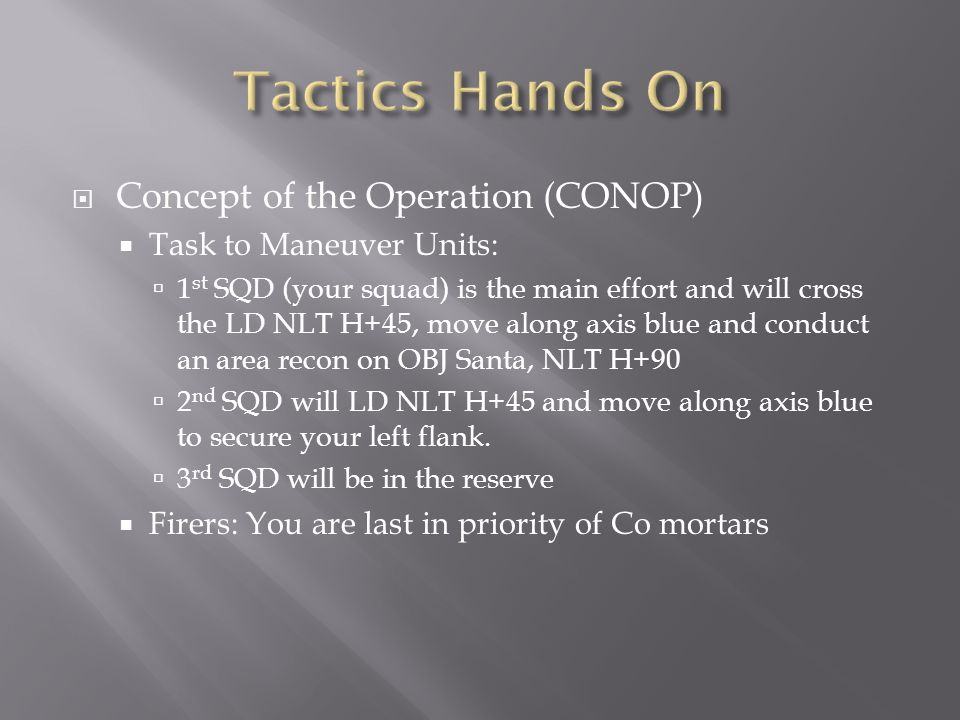 Tactics Hands On Concept of the Operation (CONOP)