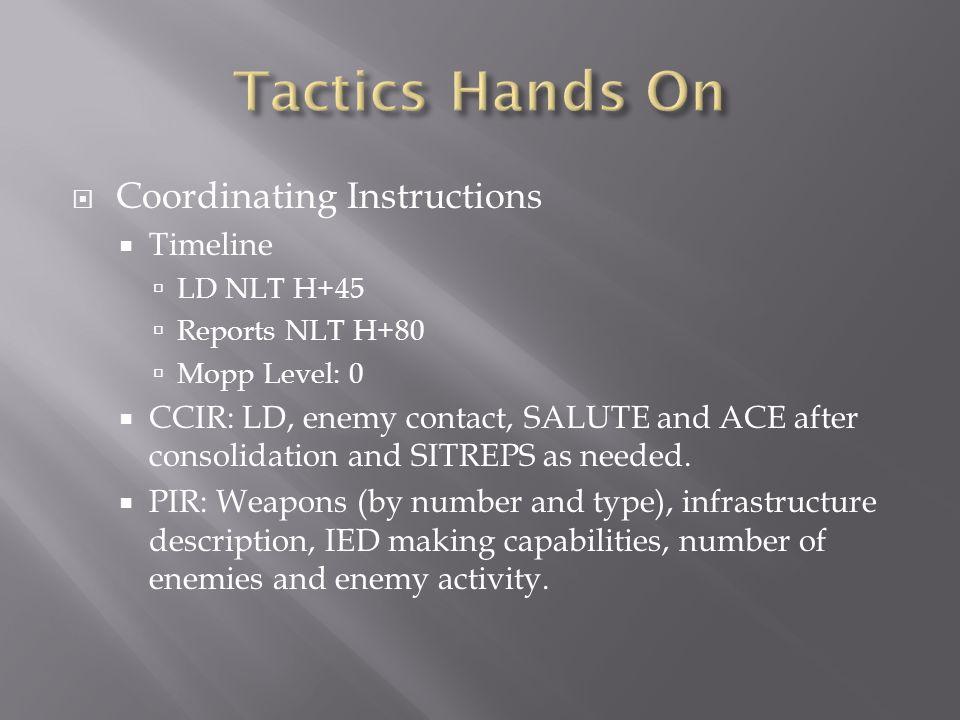 Tactics Hands On Coordinating Instructions Timeline