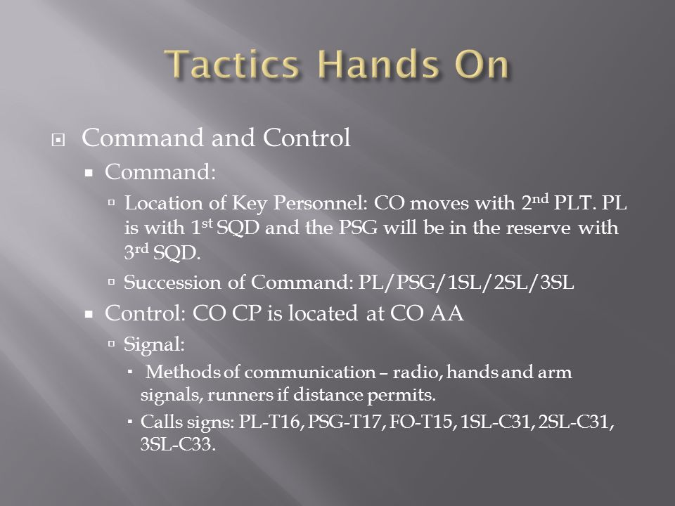 Tactics Hands On Command and Control Command: