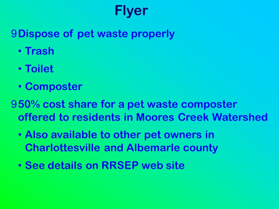 Flyer Dispose of pet waste properly Trash Toilet Composter