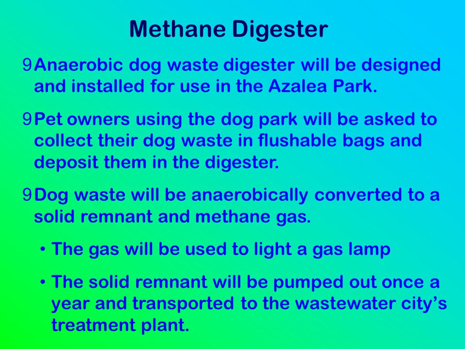 Methane Digester Anaerobic dog waste digester will be designed and installed for use in the Azalea Park.