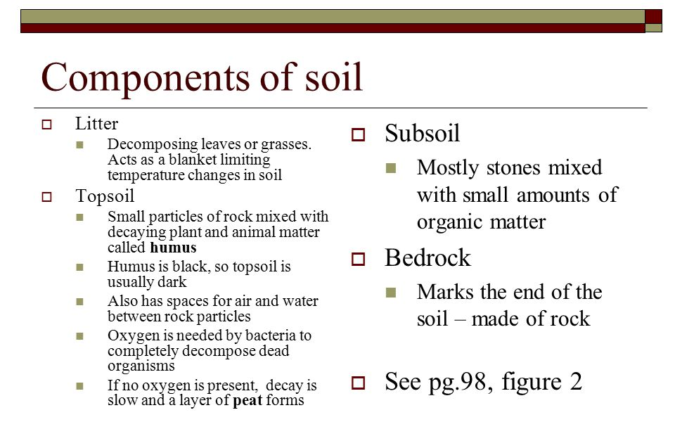 Components of soil Subsoil Bedrock See pg.98, figure 2