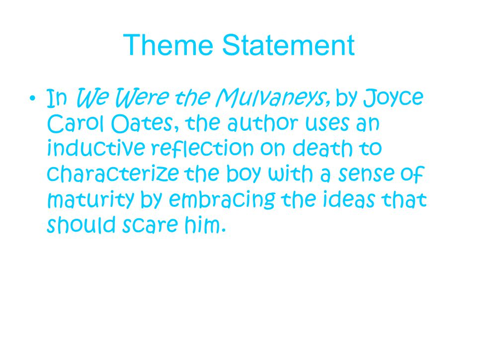 we were the mulvaneys by joyce carol oates essay We were the mulvaneys joyce carol oates, author dutton books $2495 (464p) isbn 978-0-525-94223-8 more by and about this author  essays and reviews jack of spades: a tale of suspense.