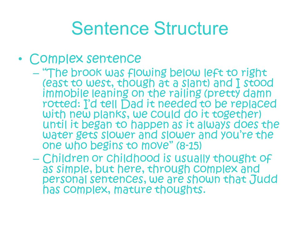 Sentence Structure Complex sentence