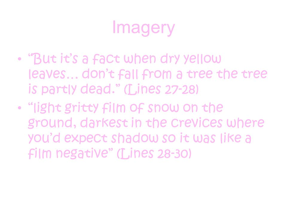 Imagery But it's a fact when dry yellow leaves… don't fall from a tree the tree is partly dead. (Lines 27-28)