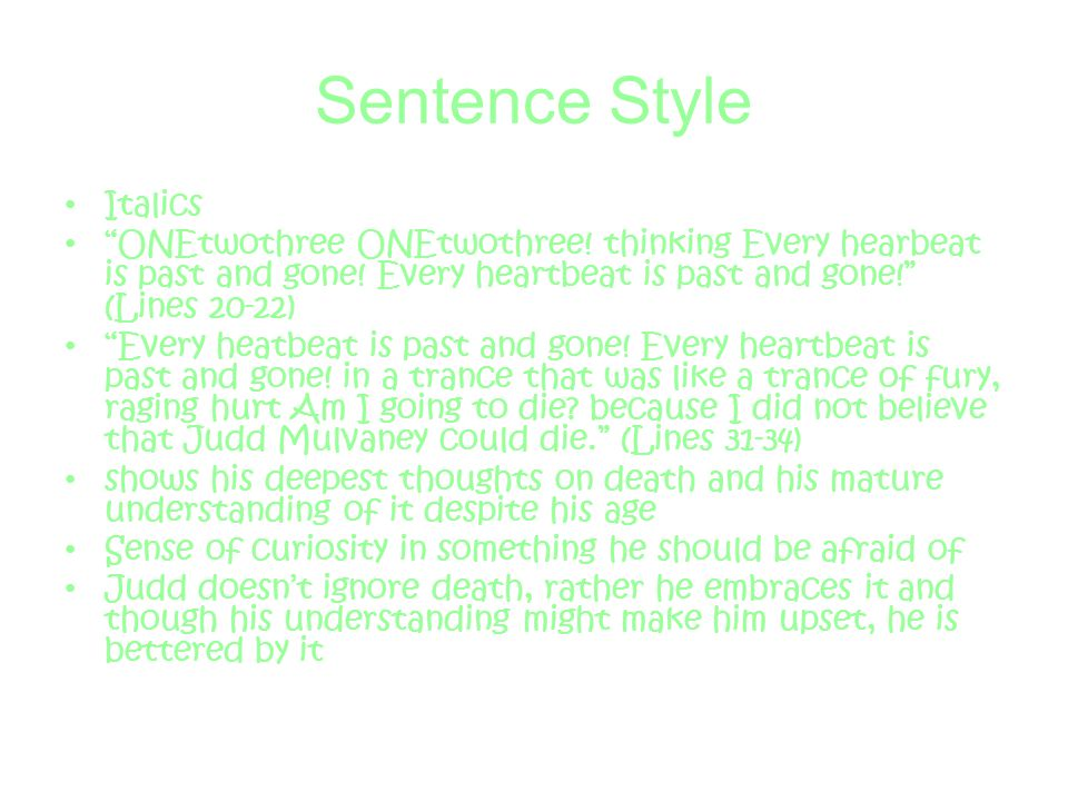 Sentence Style Italics