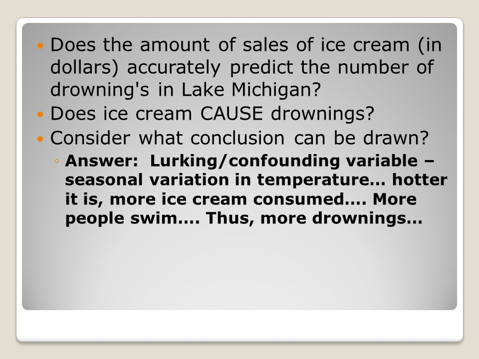 Does ice cream CAUSE drownings Consider what conclusion can be drawn