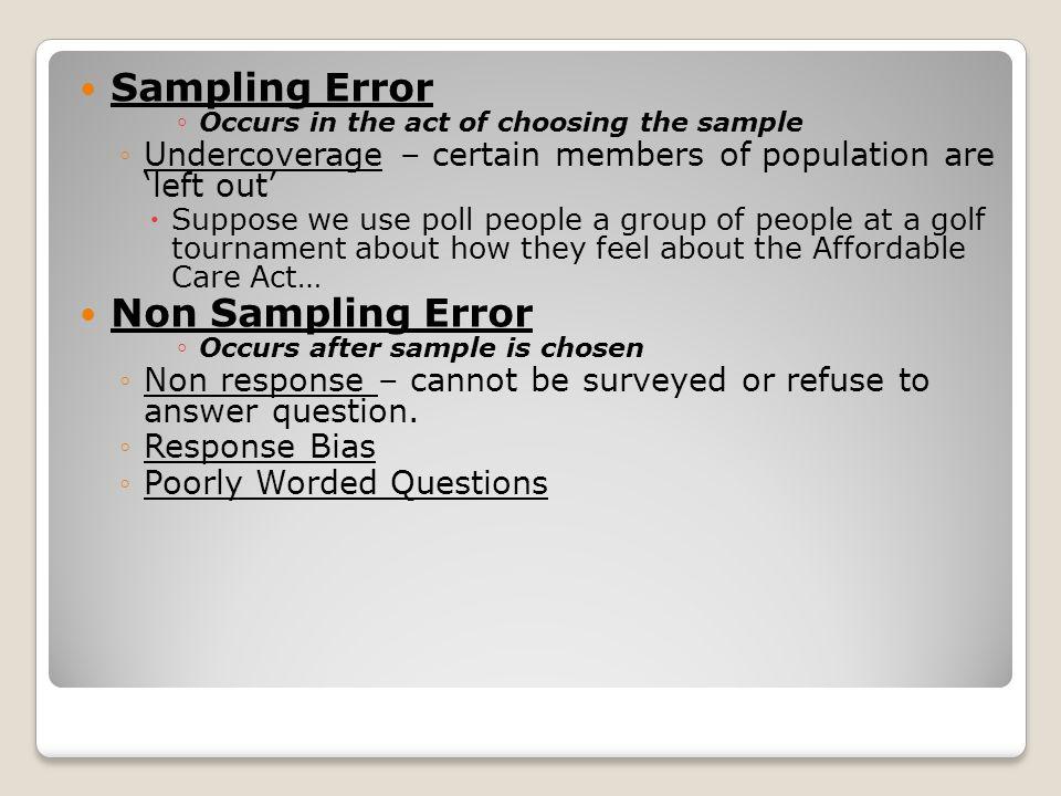 Sampling Error Non Sampling Error
