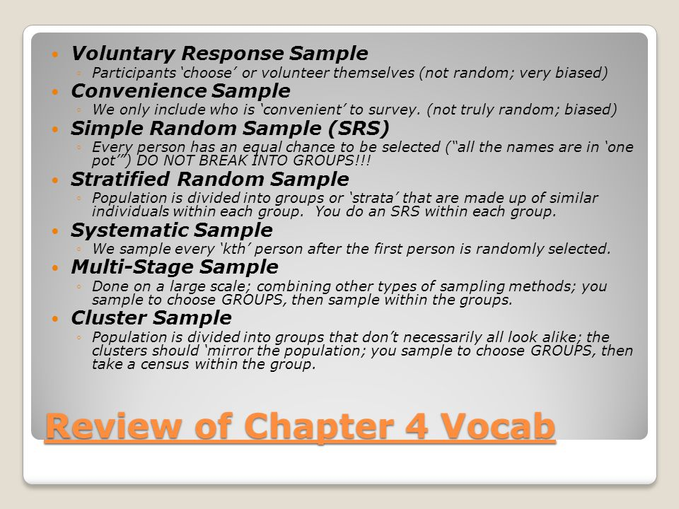 Review of Chapter 4 Vocab