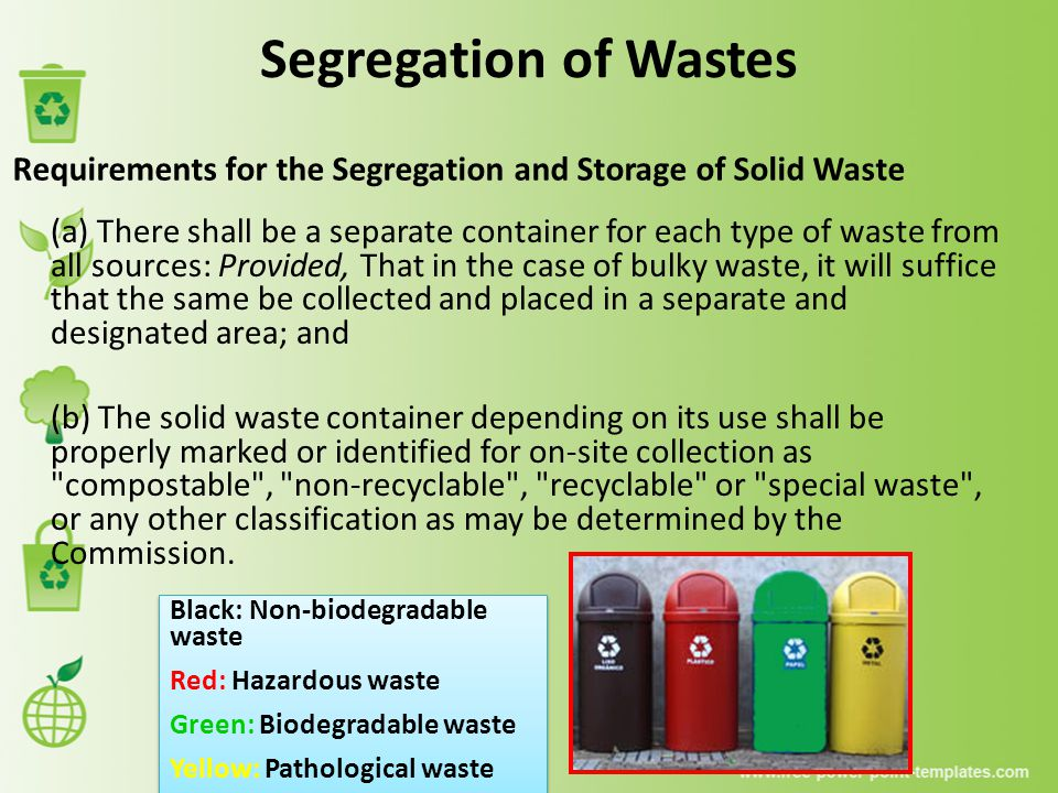Segregation of Wastes Requirements for the Segregation and Storage of Solid Waste.