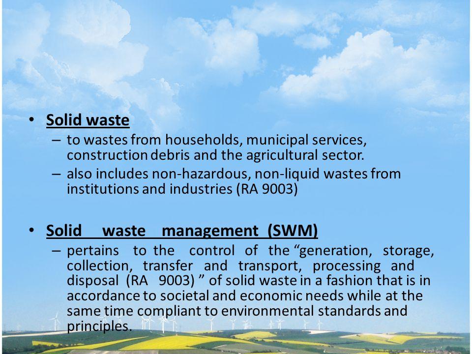 Solid waste management (SWM)