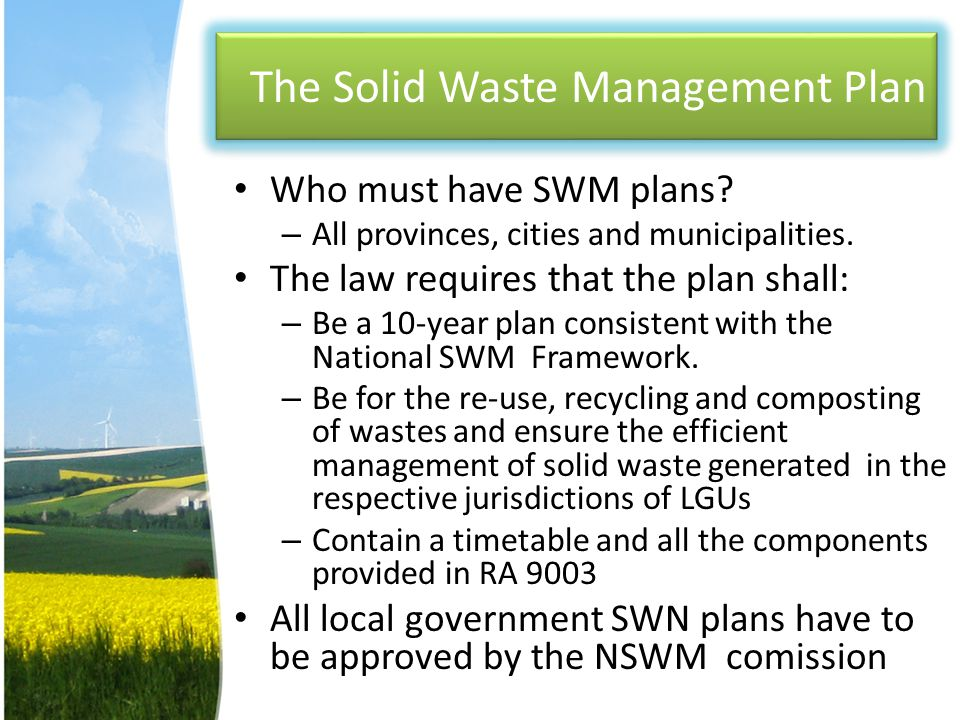 The Solid Waste Management Plan