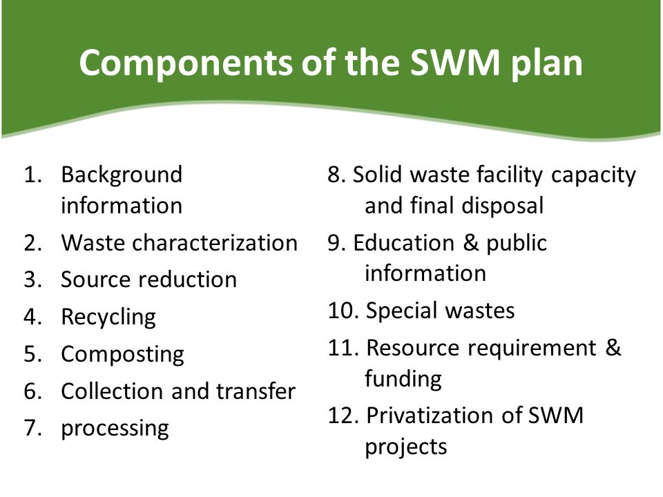 Components of the SWM plan