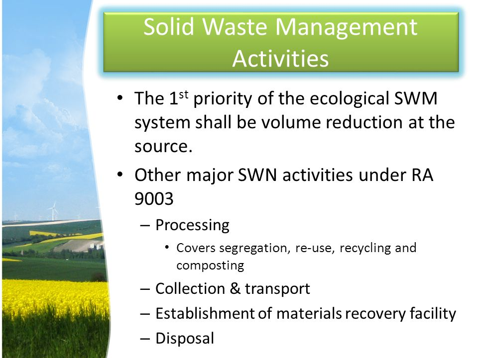 Solid Waste Management Activities