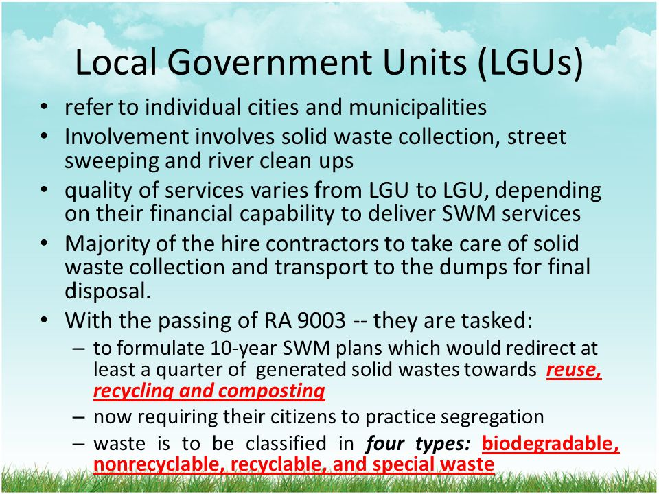 Local Government Units (LGUs)