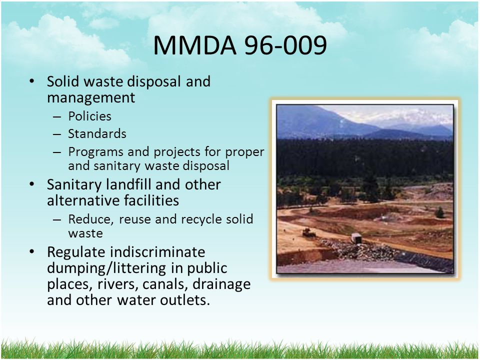 MMDA 96-009 Solid waste disposal and management