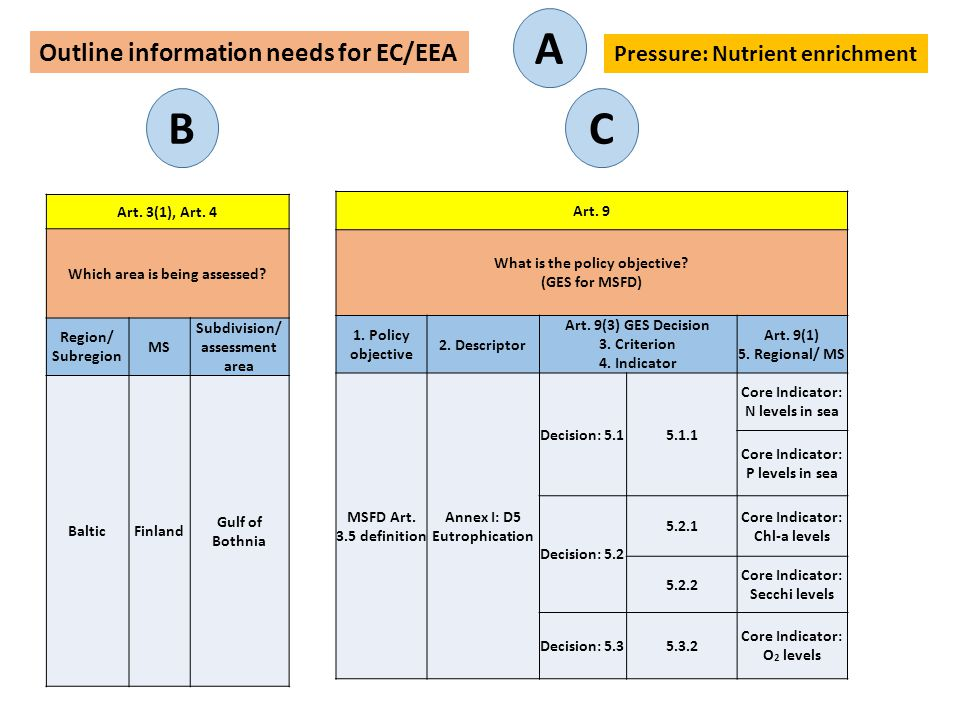 A B C Outline information needs for EC/EEA