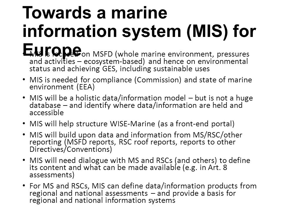 Towards a marine information system (MIS) for Europe