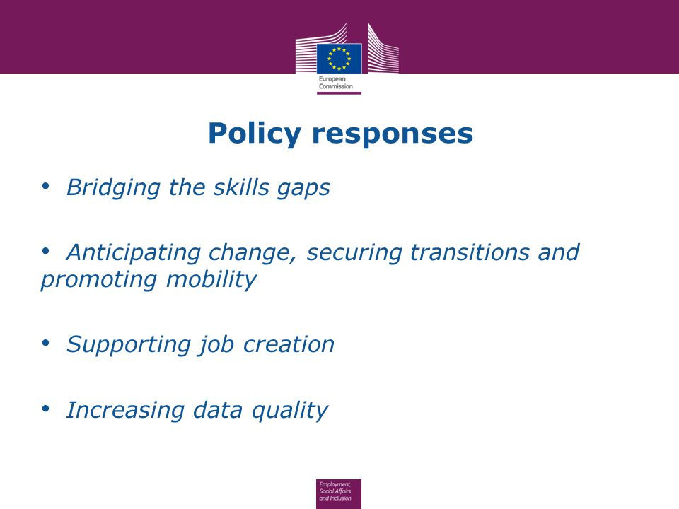 Policy responses Bridging the skills gaps